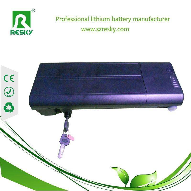 36v9ah flat rear rack lithium battery pack for e-bike