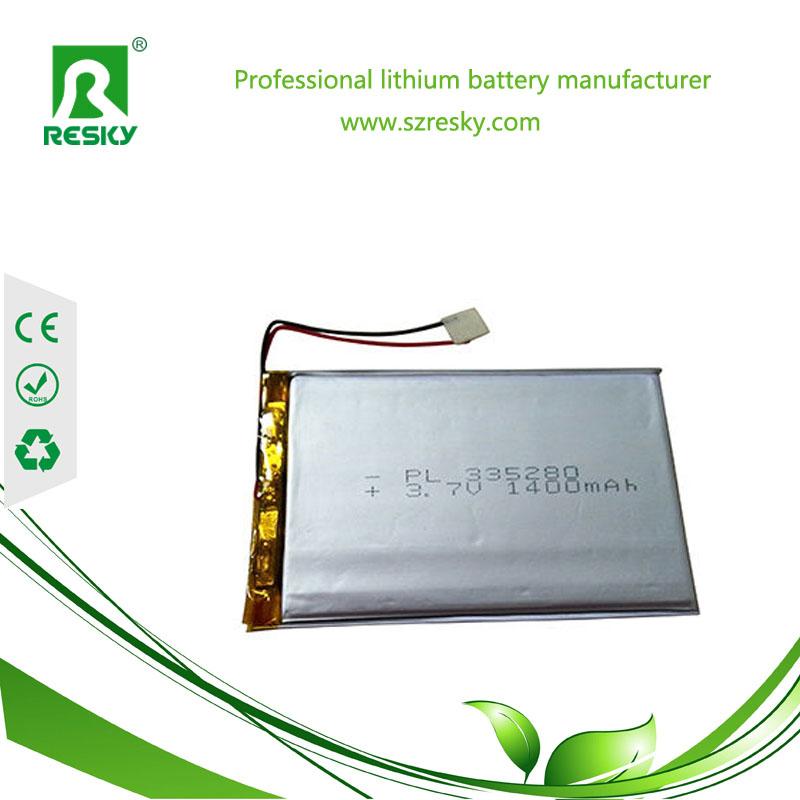 3.7v 1400mAh lithium battery cell for GPS