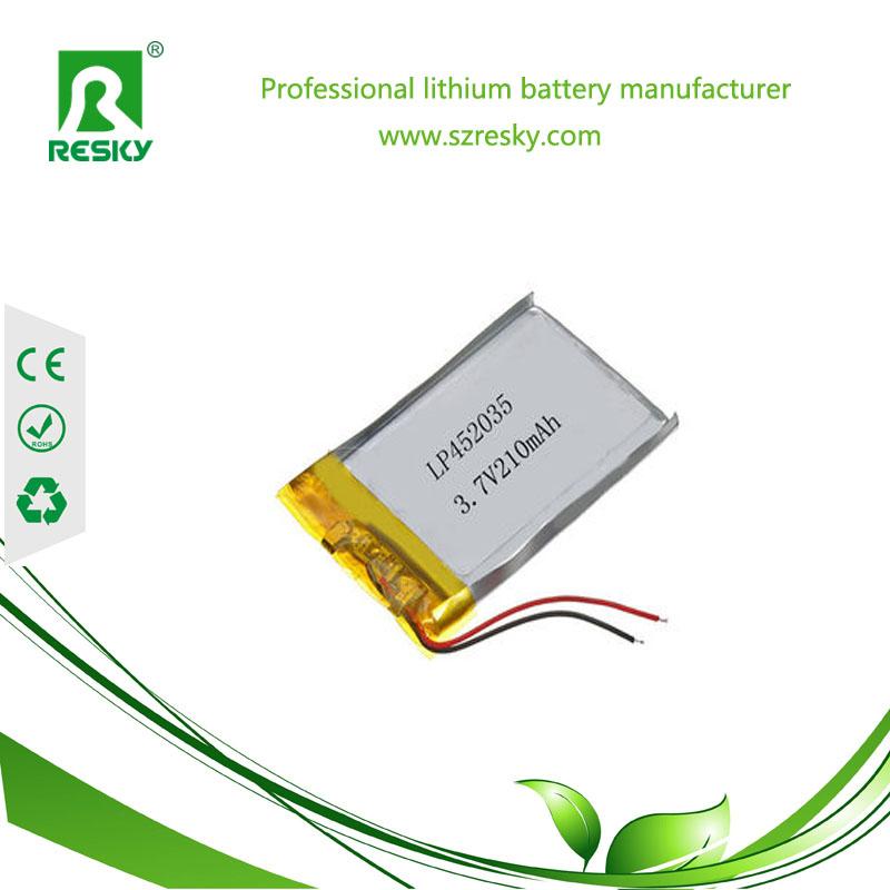 lithium polymer 210mAh 3.7v battery cell for media